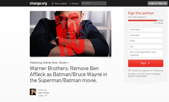 Change.org Petition1 590x357 Forget Batman v Superman   Its All About Affleck v Bale