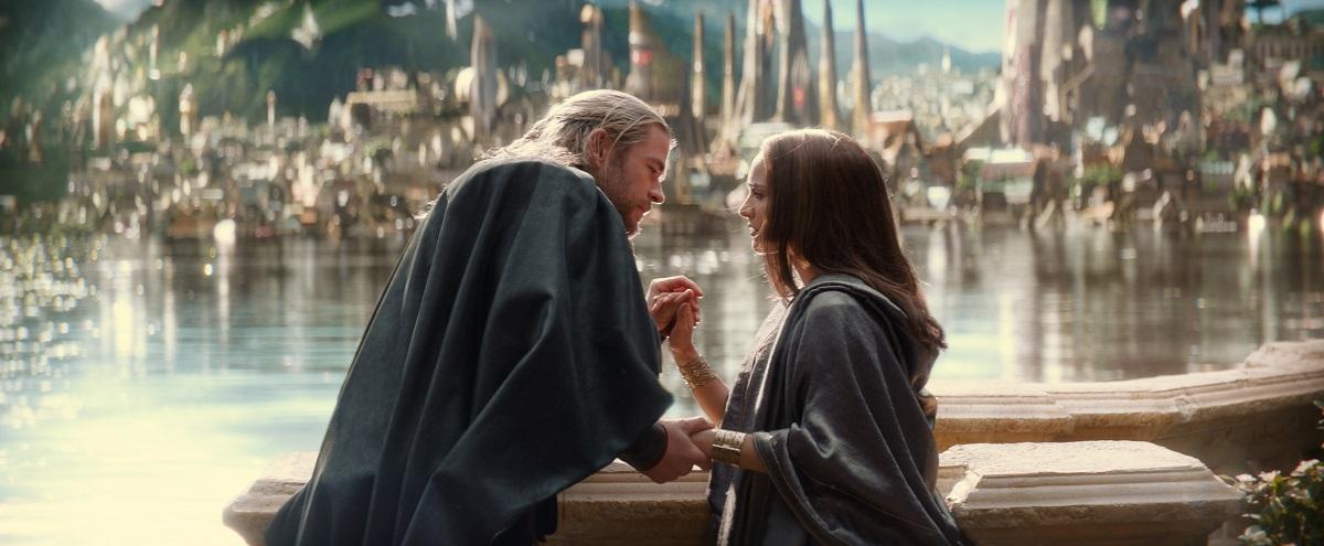 """Marvel's Thor: The Dark World""..L to R: Thor (Chris Hemsworth) and Jane Foster (Natalie Portman)..Ph: Film Frame..© 2013 MVLFFLLC. TM & © 2013 Marvel. All Rights Reserved."