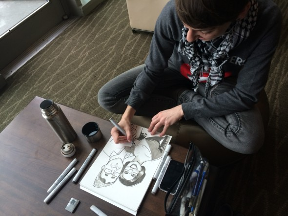ECCC artist sketching away