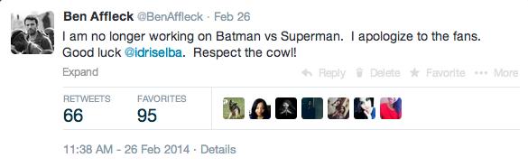 ben affleck batman vs superman tweet
