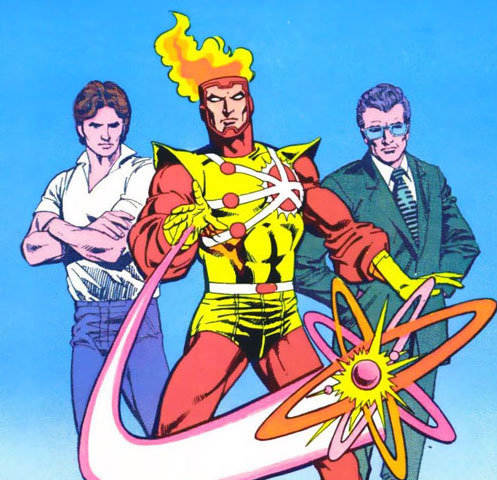 Ronnie Raymond and Dr. Stein are fused together into one hero; FIRESTAR!