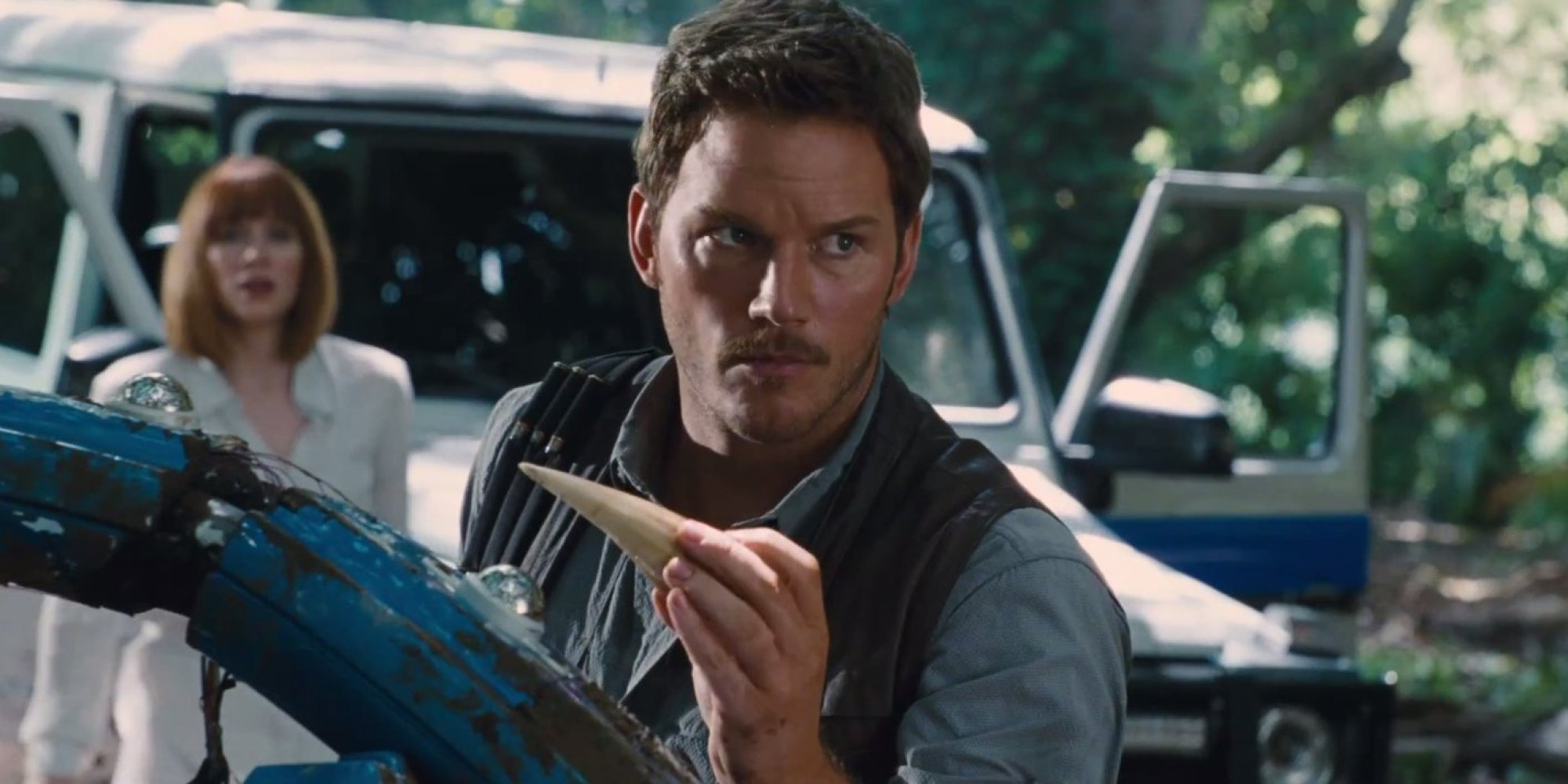 Serious face Pratt in Jurassic World