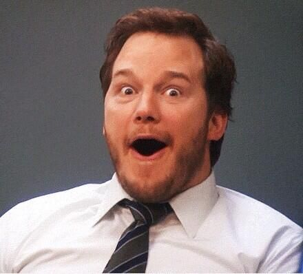 chris pratt parks and rec excited face