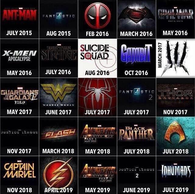 upcoming comic book movies
