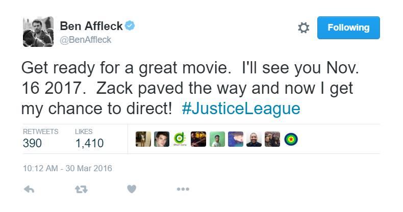 ben affleck fake justice league tweet april fools